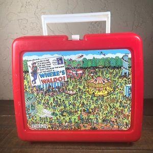 Where's Waldo 1990 vintage lunchbox w/ thermos